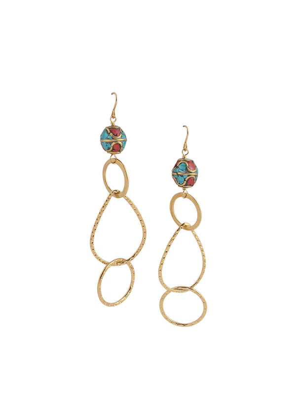 Turquoise Coral Gold Dangle Earrings