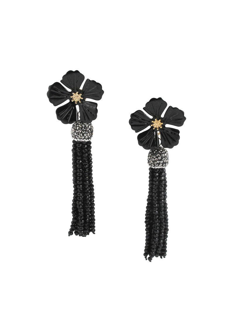 Black Flower Crystal Tassel Post Earrings
