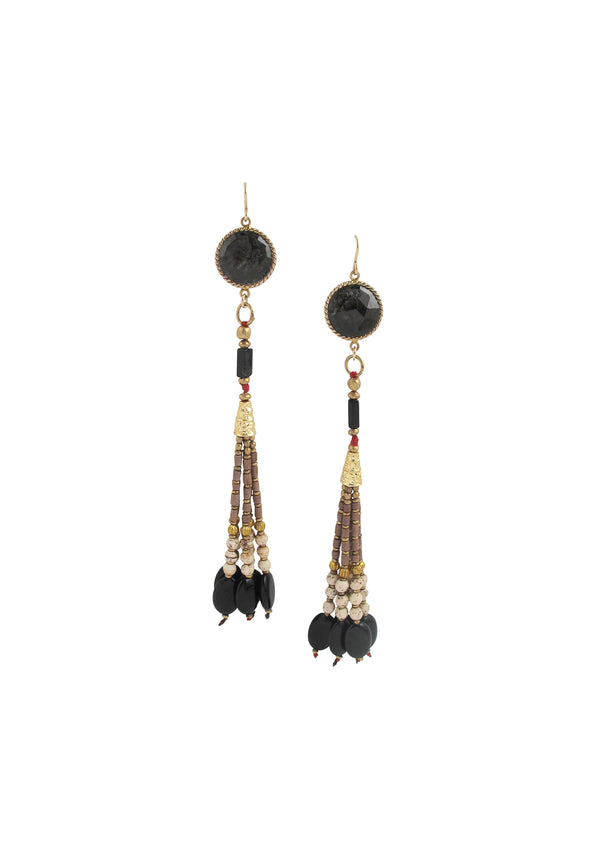 Kyanite Bezel Animal Print Tassel Earrings