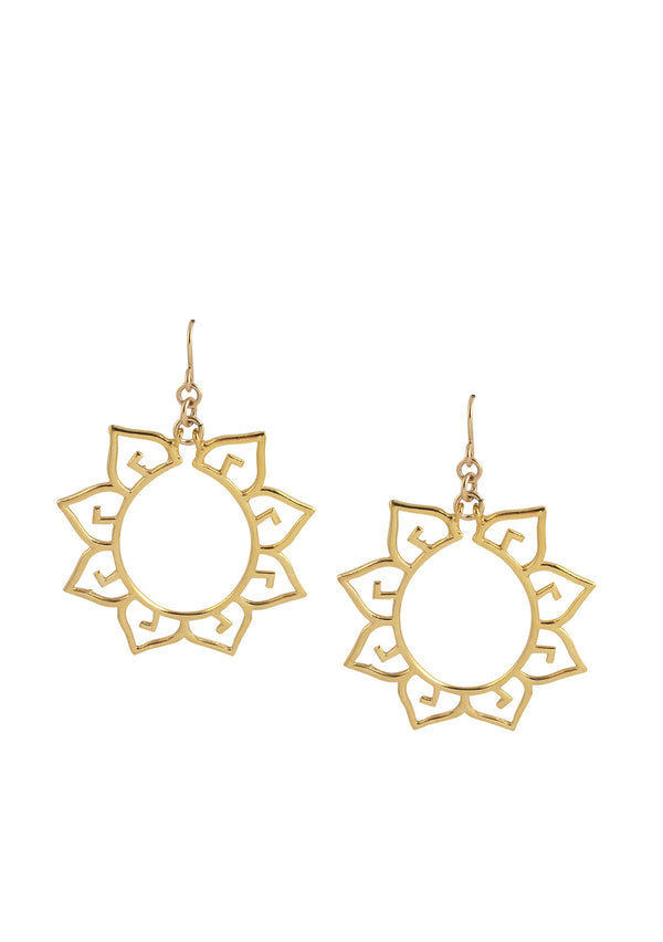 Gold Flower Filigree Earrings