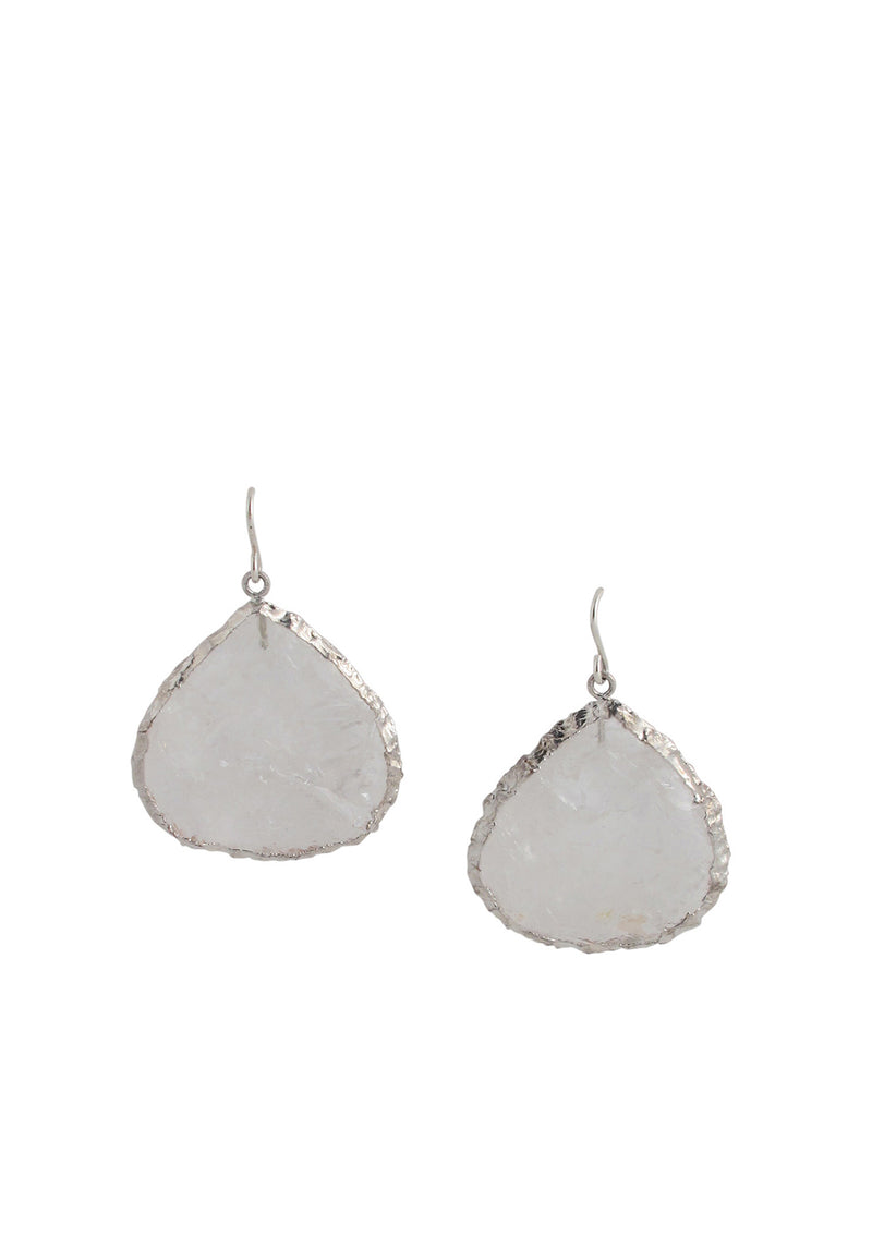 Raw Quartz in Rhodium Foil Earrings