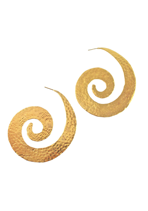 Gold Hammered Large Swirl Post Earrings