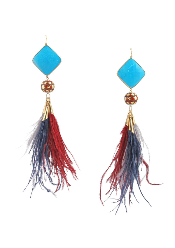 Turquoise Bezel Ethnic Multicolor Feather Earrings