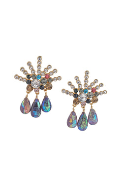 Multicolor Iridescent Drop Post Earrings