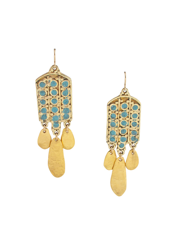Ethnic Turquoise Gold Drop Earrings