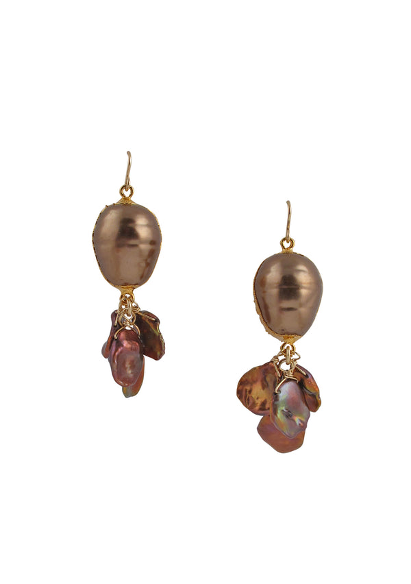 Devon Leigh Understated bohemian style freshwater pearl cluster earrings with bronze shell pearl.