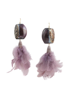 Purple Speckled Shell Lavender Feather Earrings