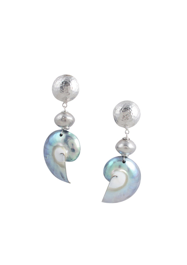 Nautilus Shell Rhodium Accent Post Earrings