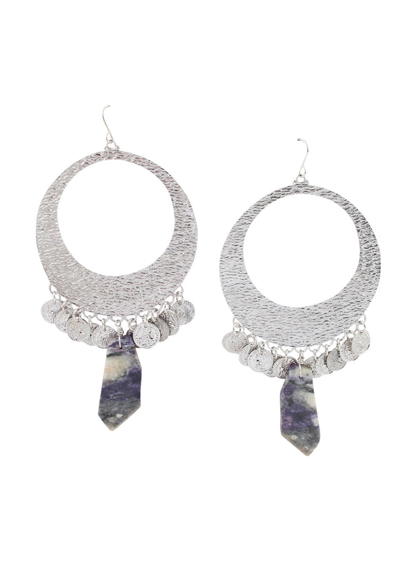 Rhodium Textured Hoop Purple Opal Earrings