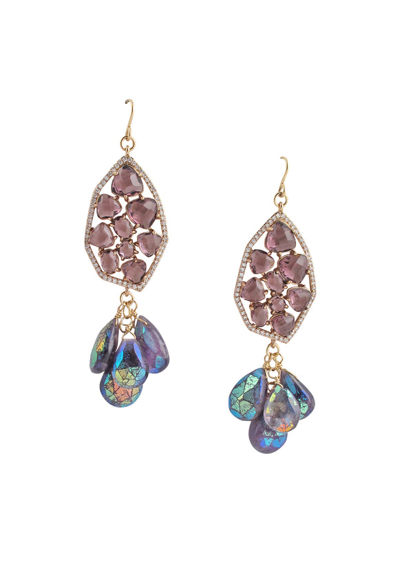 Amethyst CZ Iridescent Drop Earrings
