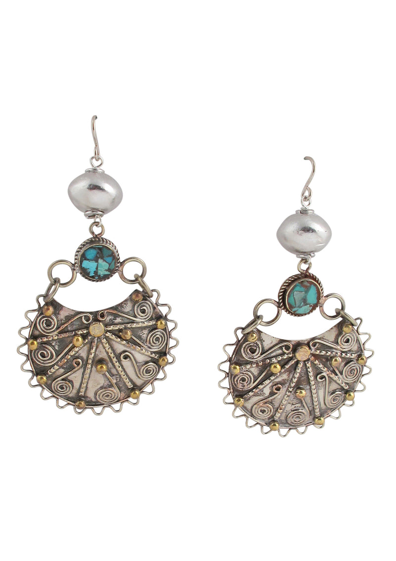 Ethnic Antiqued Brass Turquoise Rhodium Accent Earrings