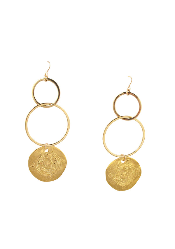 Gold Coin Double Link Earrings