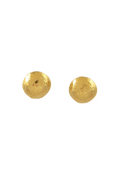Gold Hammered Button Post Earrings
