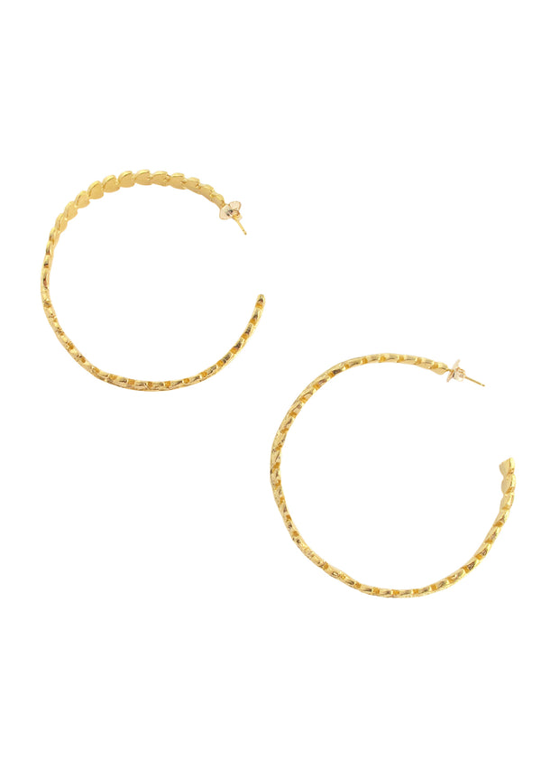 Large Gold Leaf Hoop Earrings
