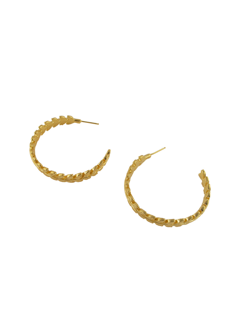Gold Carved Ivy Hoop Earrings