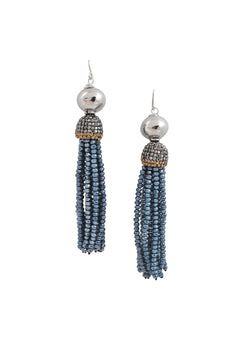 Rhodium Blue Crystal Tassel Earrings