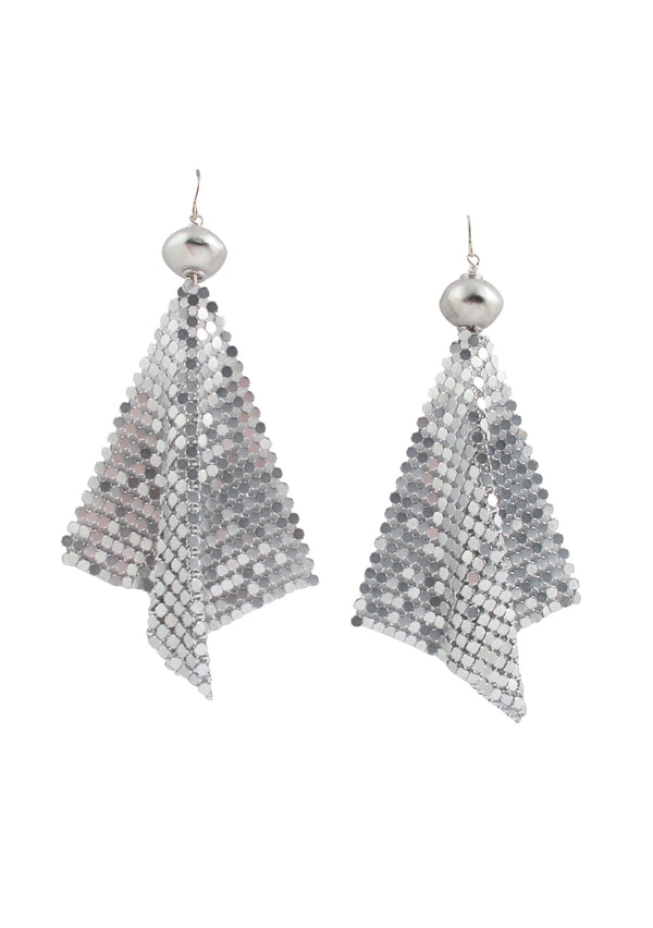 Rhodium Silver Toned Mesh Earrings