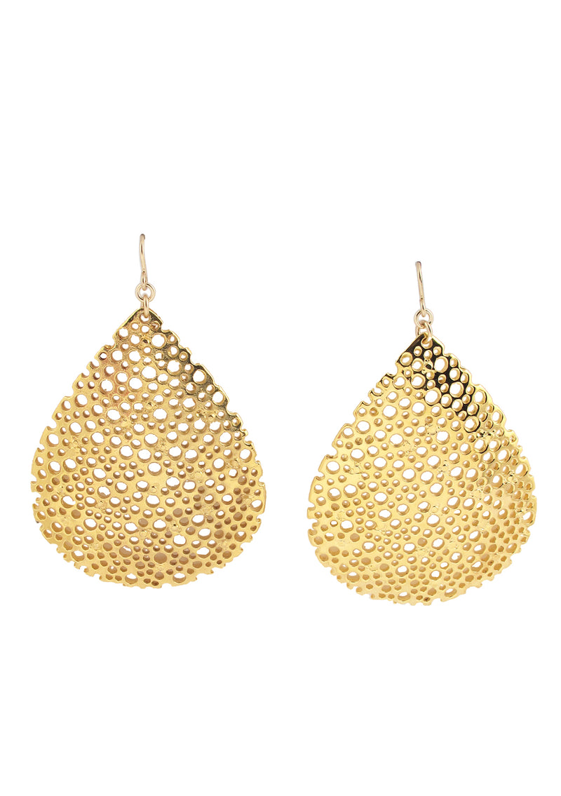 Large Carved Gold Teardrop Earrings