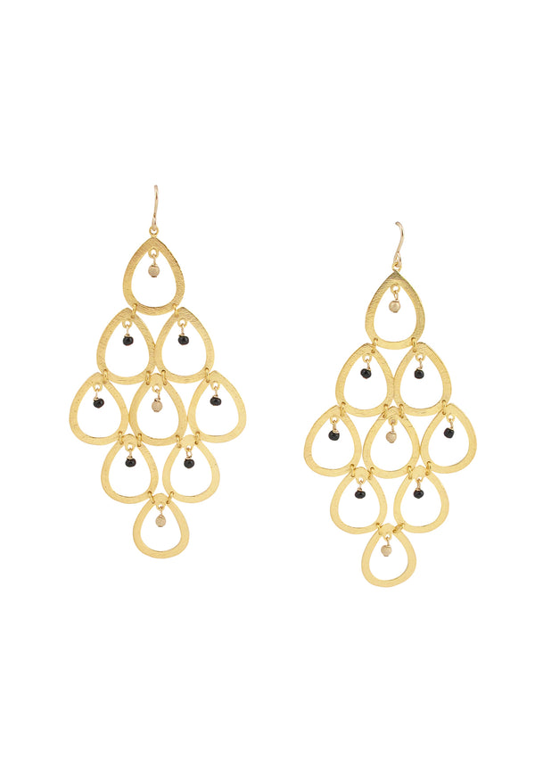 Black Onyx Gold Chandelier Earrings