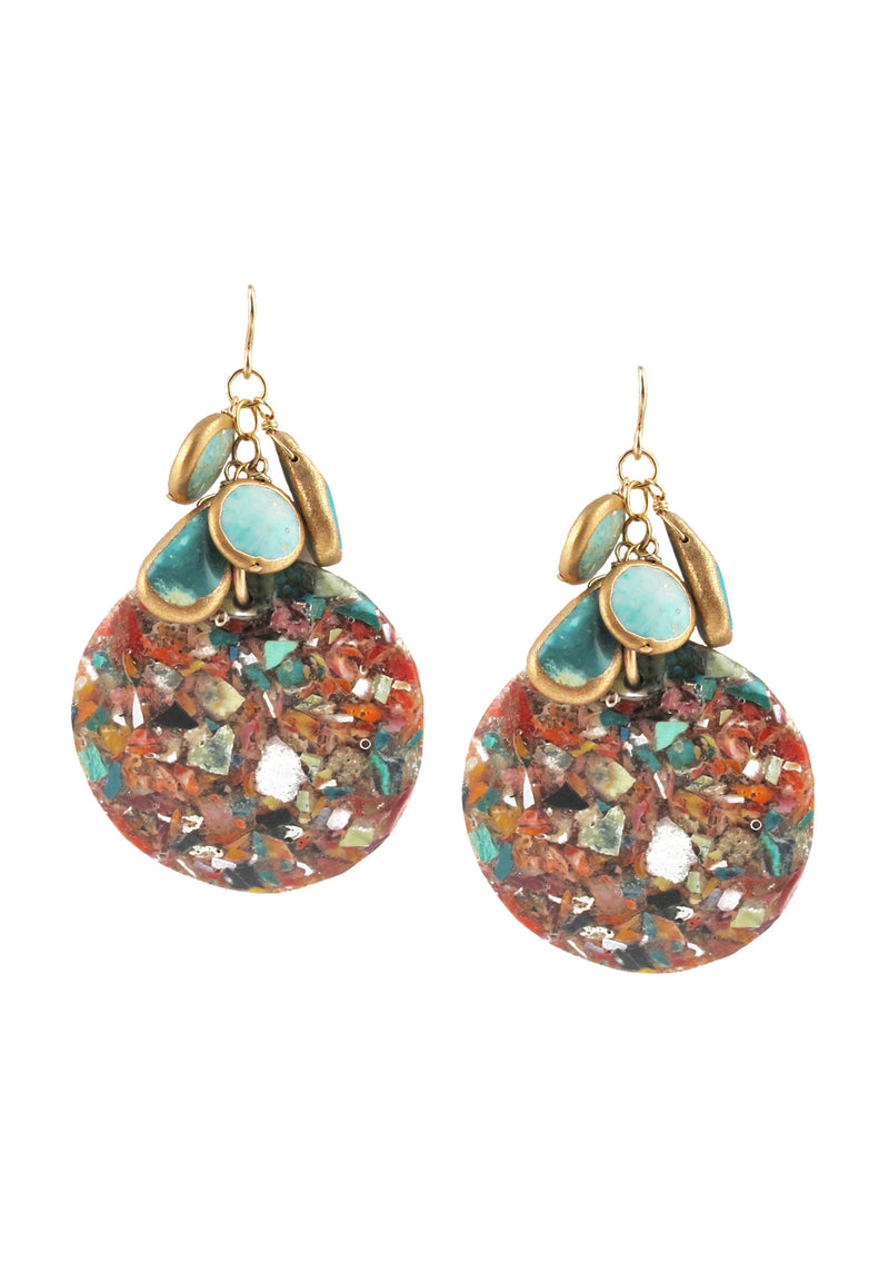 Copper Infused Turquoise Mosaic Jasper Earrings