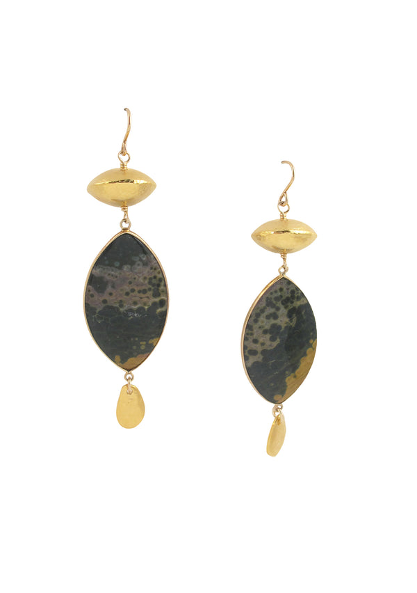 Moss Jasper Gold Accent Earrings