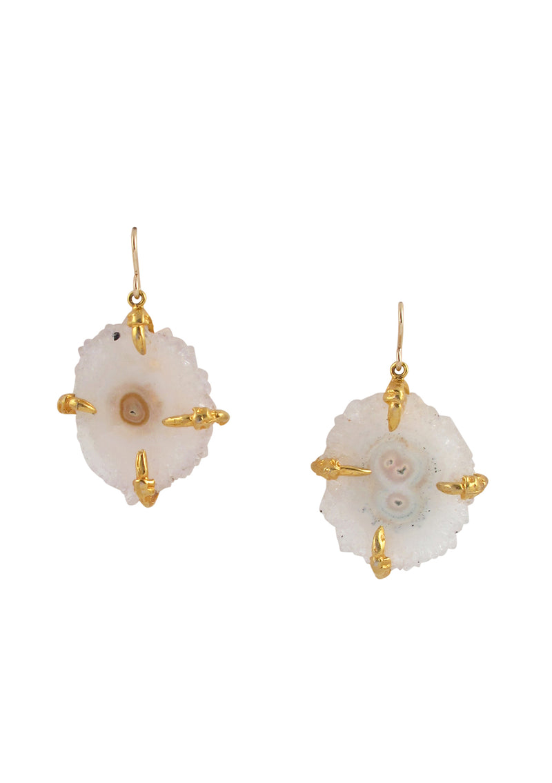 Clear Stalactite in Gold Setting Earrings