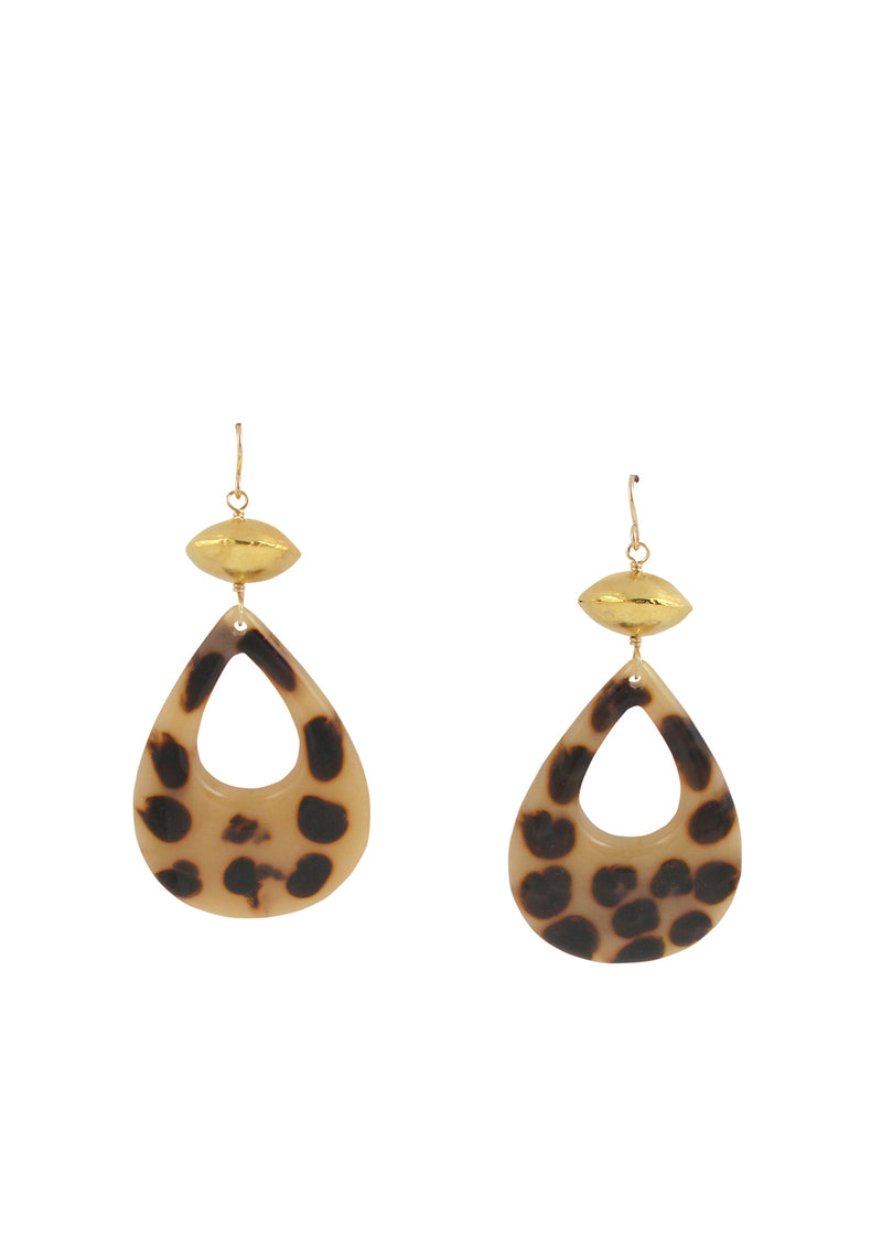 Animal Print Resin Gold Earrings