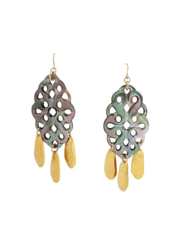 Black Mother of Pearl Gold Drop Earrings