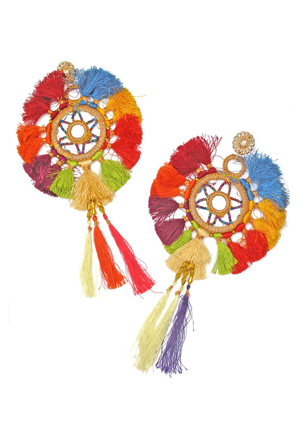 Multi Color Oversized Ethnic Tassel Earrings
