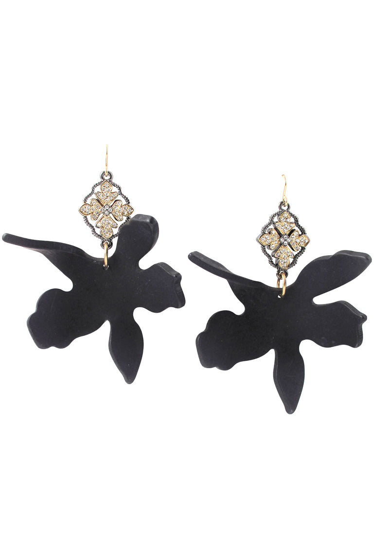 Two-Tone Diamond Illusion Black Matte Earrings