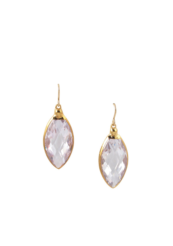 Faceted Clear CZ in Gold Foil Drop Earrings
