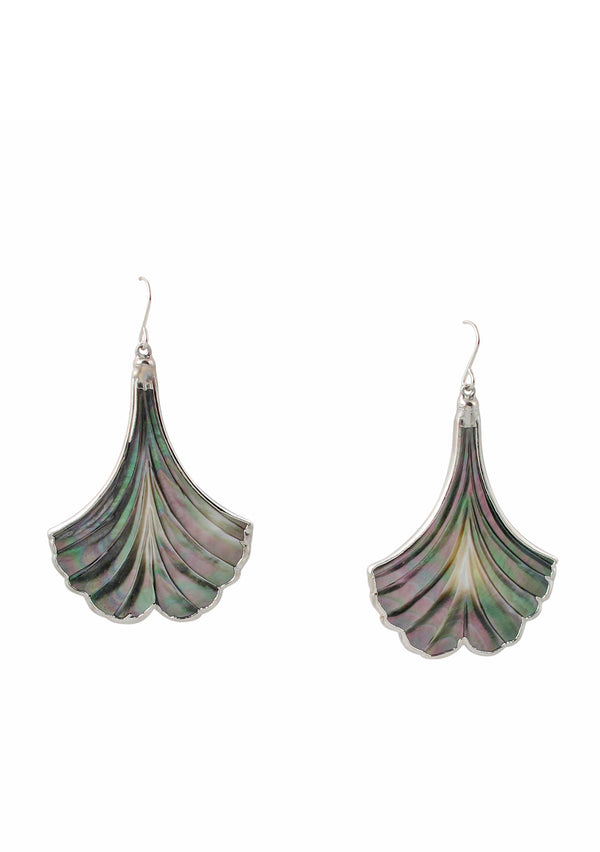 Black Mother of Pearl in Rhodium Earrings