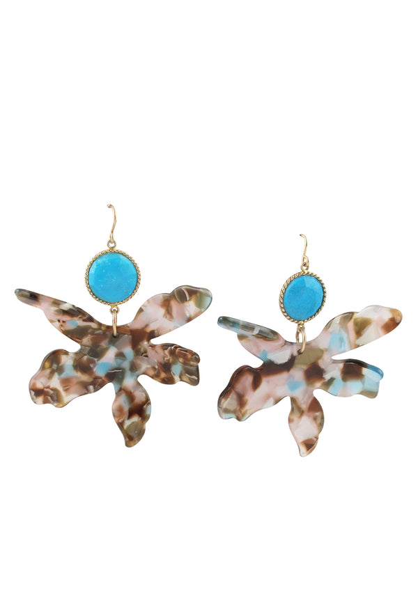 Turquoise Bezel Resin Flower Earrings