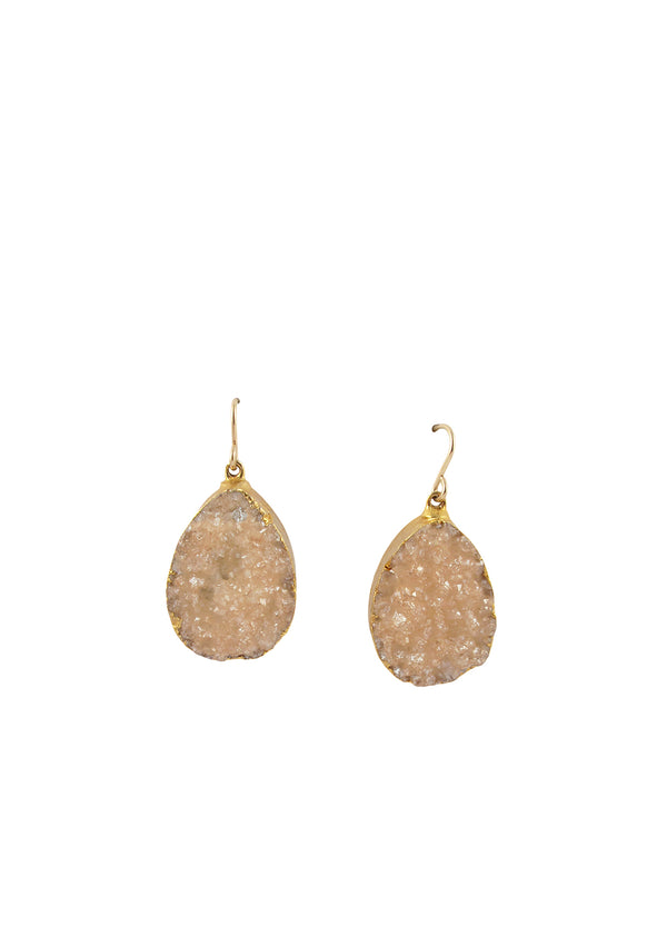 Peach Drusy in Gold Foil Earrings