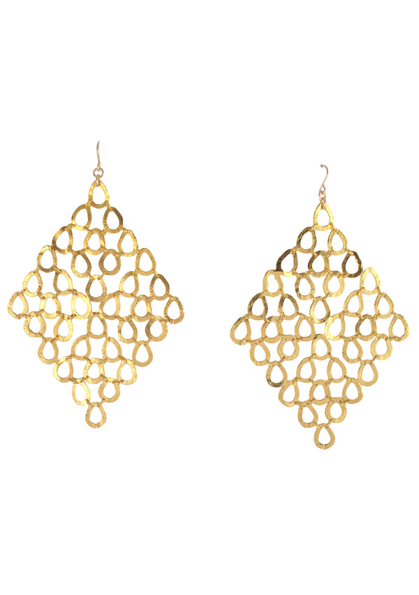 Large Gold Trellis Earrings