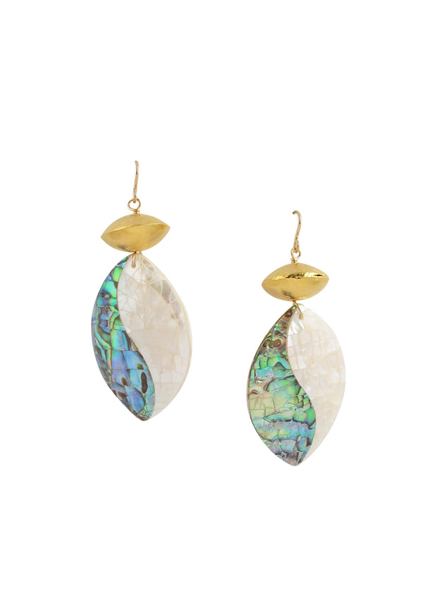 Two Tone Abalone Pearl Shell Gold Accent Earrings