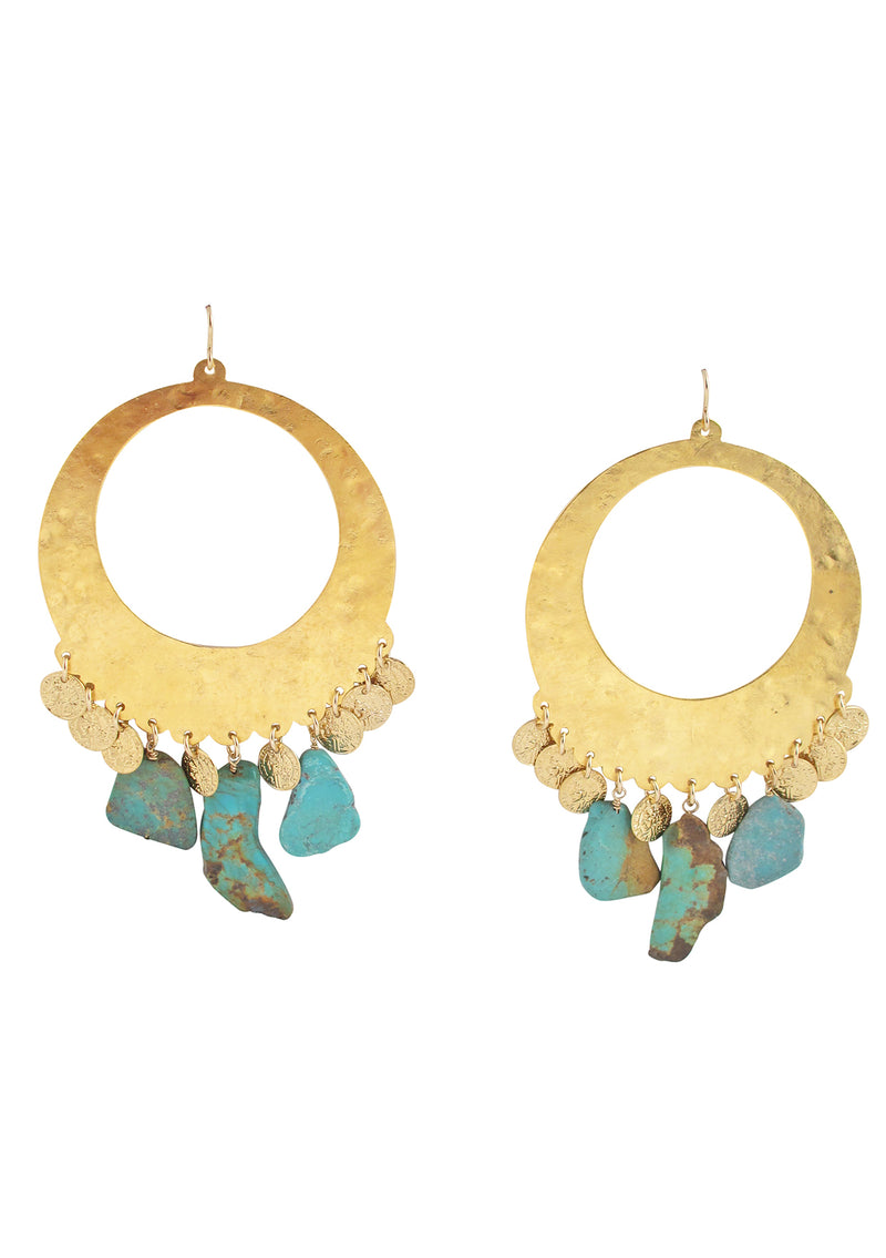 Large Gold Turquoise Drop Earrings