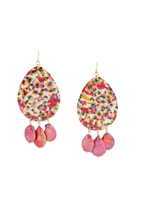 Pink Freshwater Pearl Multicolor Pendant Earrings