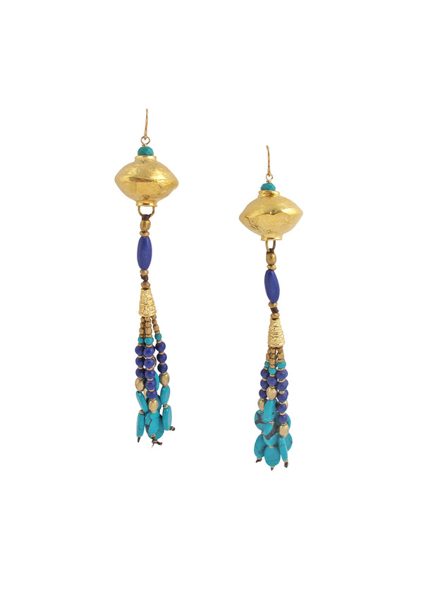 Lapis Turquoise Tassel Gold Accent Earrings