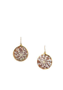 Speckled Shell in Gold Foil Drop Earrings