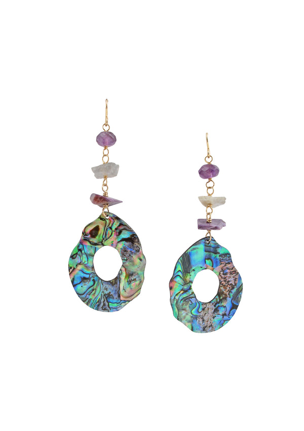 Abalone Amethyst Labradorite Earrings