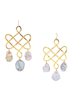 Gold Trellis Pink Freshwater Pearl Earrings