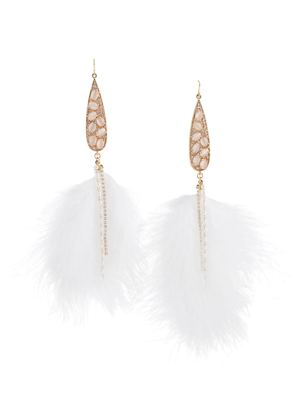 Moonstone Diamond Illusion Bezel White Feather Earrings