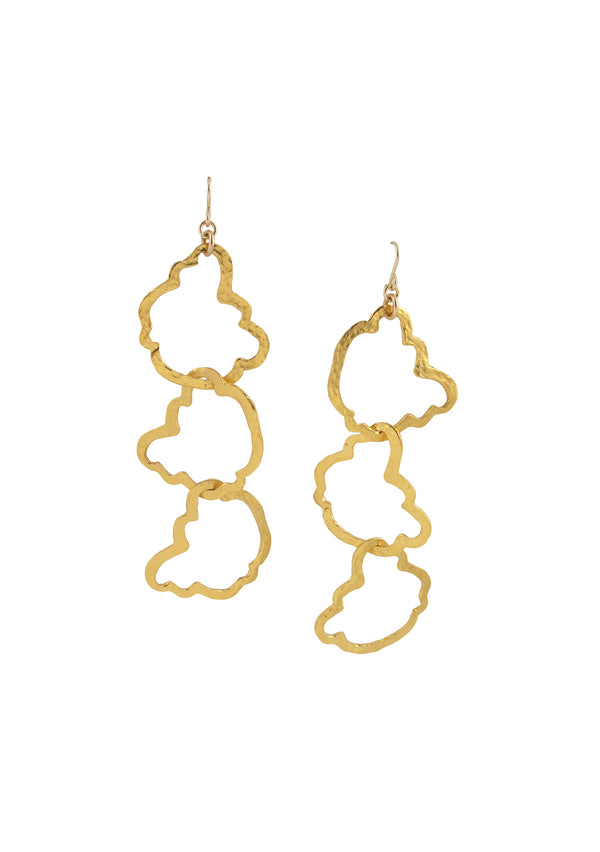 Gold Triple Cloud Earrings