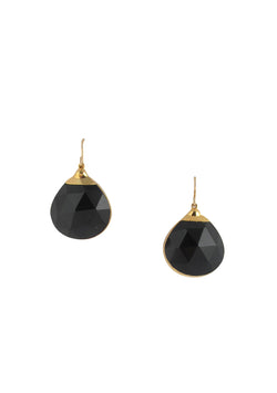 Black Onyx in Gold Foil Earrings