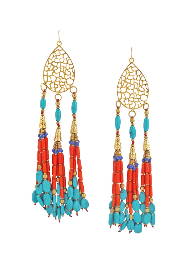 Gold Filigree Turquoise Coral Tassel Chandelier Earrings