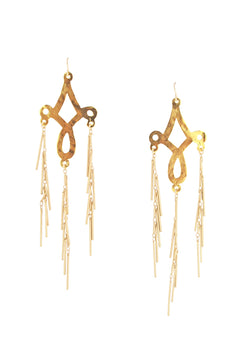 Long Gold Fringe Chandelier Earrings