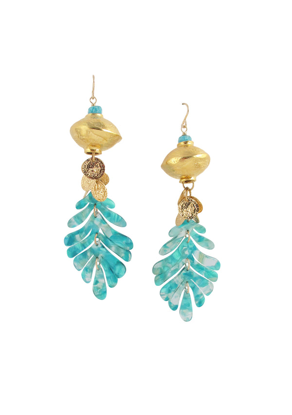 Gold Accent Aqua Leaf Earrings