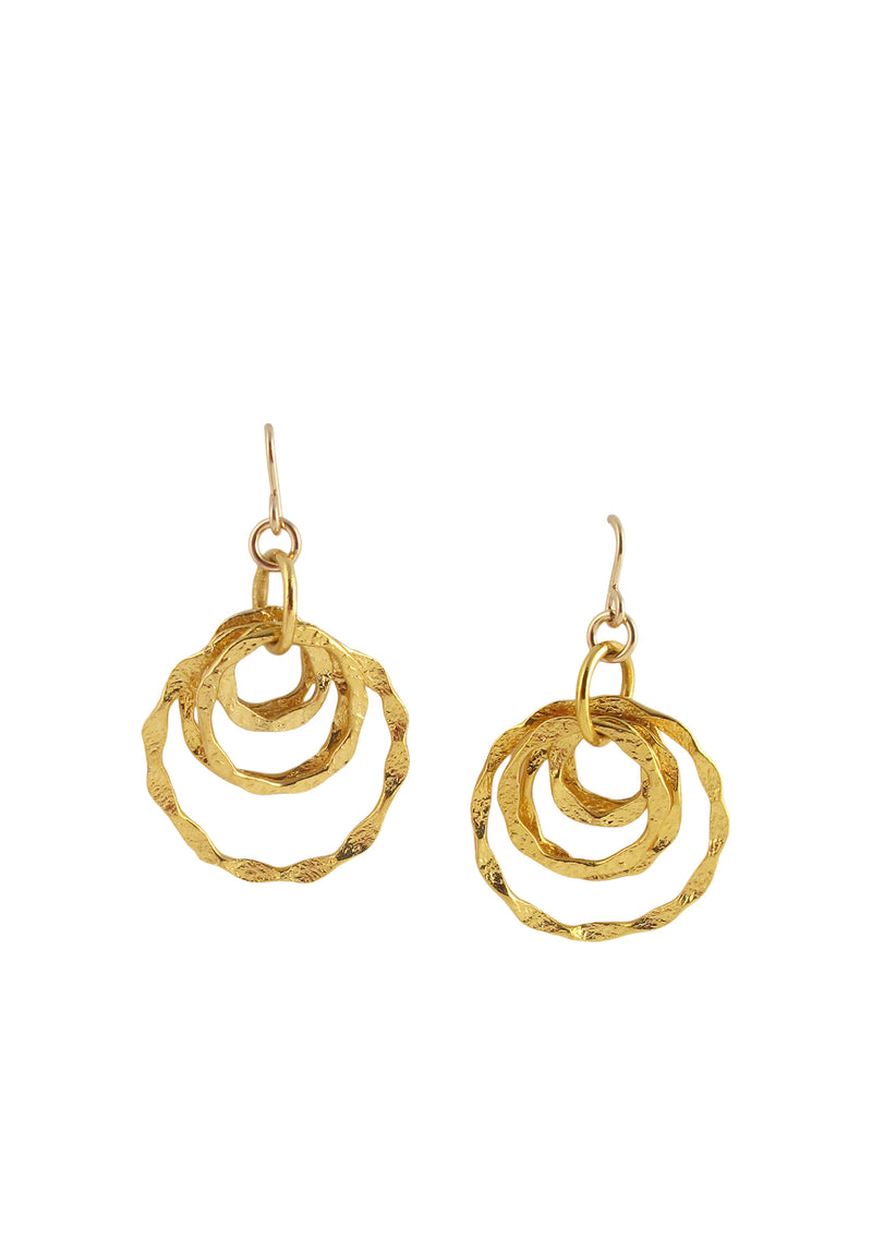 Textured Gold Multi Circle Earrings