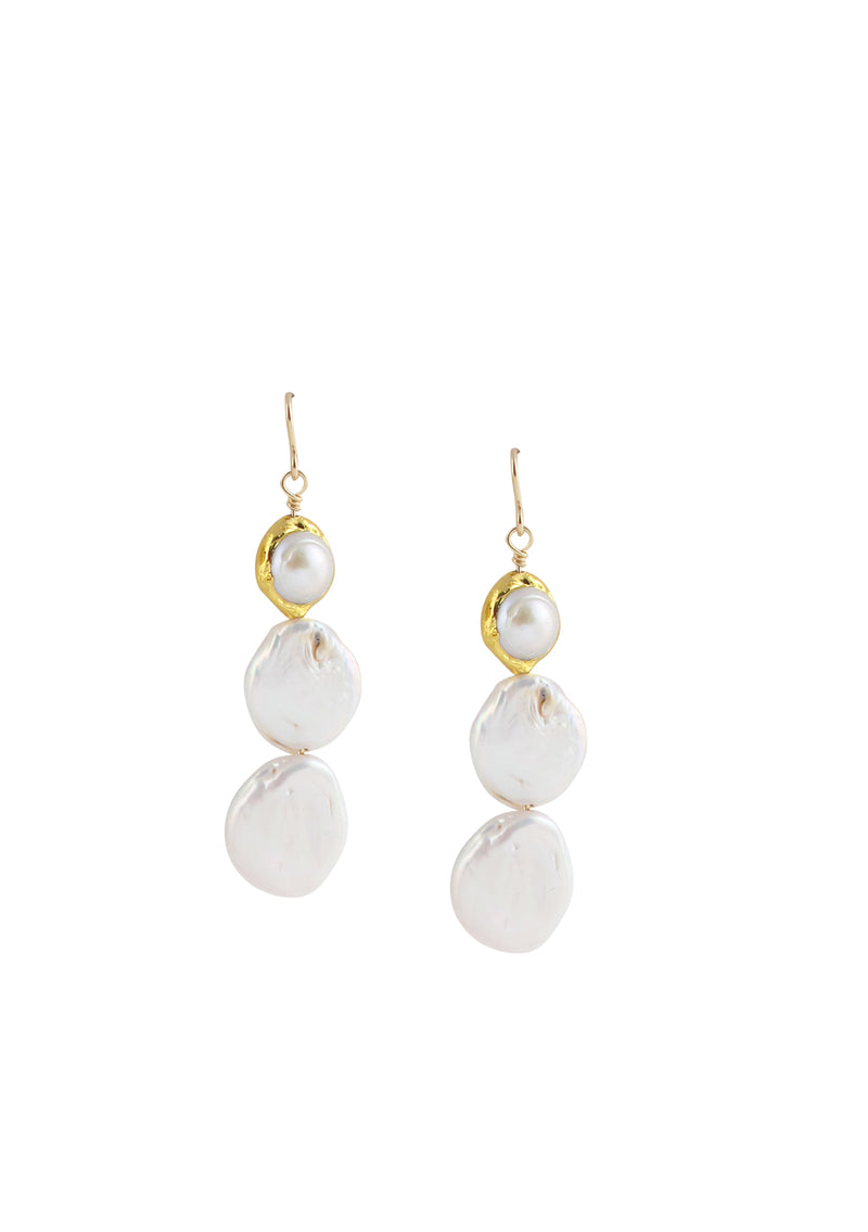 Freshwater Pearl Bezel Drop Earrings